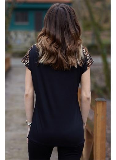 XHAN Omzu Leopar Detaylı Bluz 0Yxk2-43460-02 Siyah